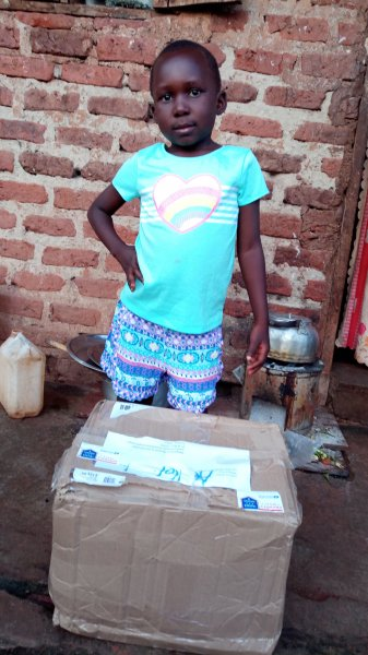 Haddija with her package.
