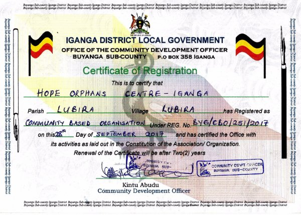 Official Documentation Hope Orphans Centre-Igangi
